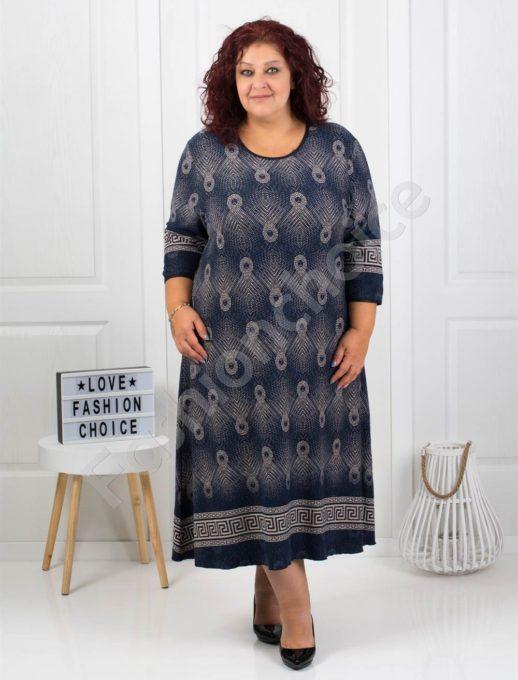 Шикозна плътна макси рокля с красиви мотиви в тъмно синьо-код 7078