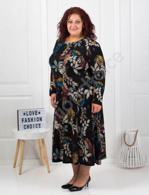 Цветна макси рокля от фино плетиво в черно-код 6085-40