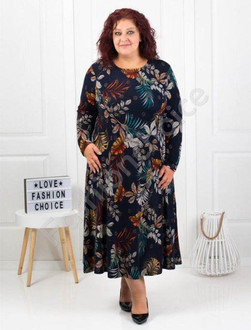 Цветна макси рокля от фино плетиво в синьо-код 6085-41