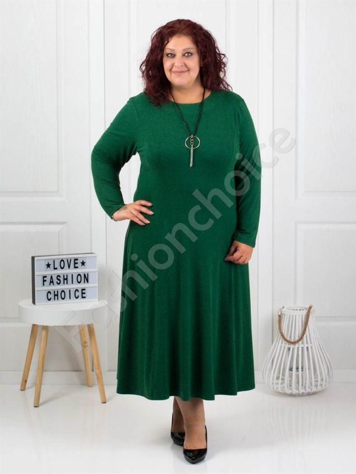 Плътна макси рокля в зелен цвят+подарък бижу-код 6085-36