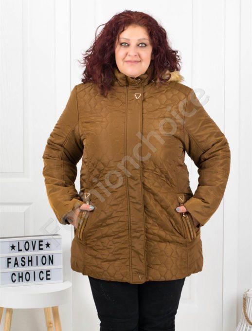 Топло зимно макси яке с качулка и еко косъм в златисто-код 5208-1