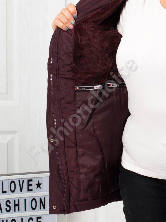 Чудесно зимно макси яке с качулка и еко косъм в бордо-код 5204-1