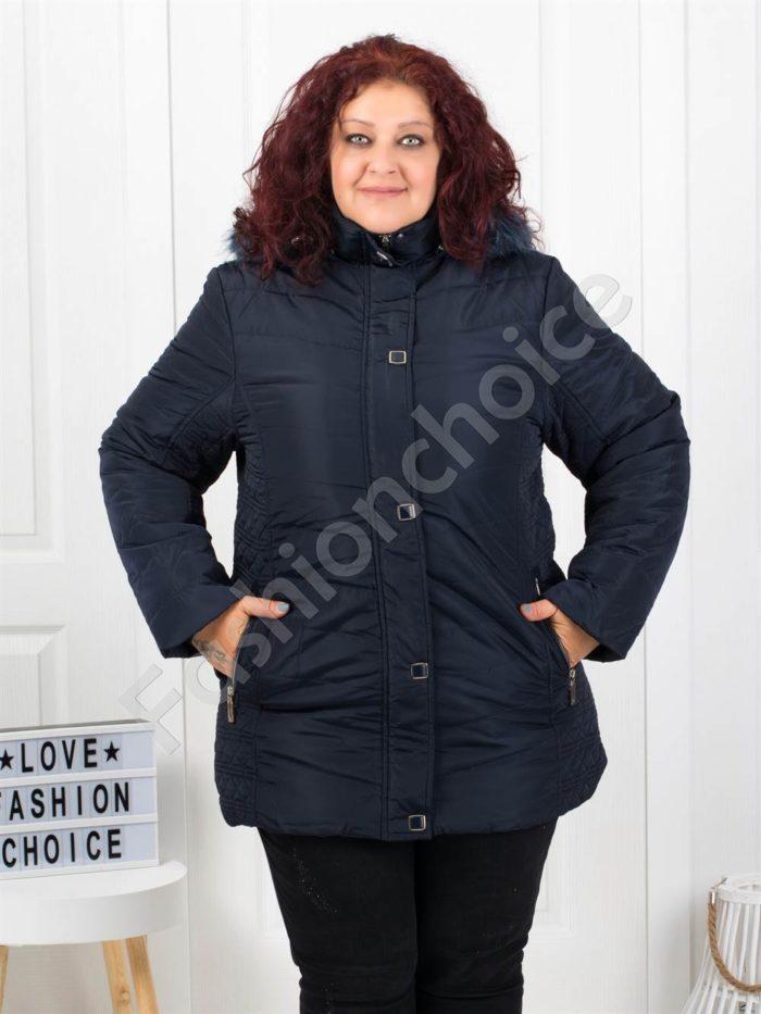 Чудесно зимно макси яке с качулка и еко косъм в синьо-код 5204-2