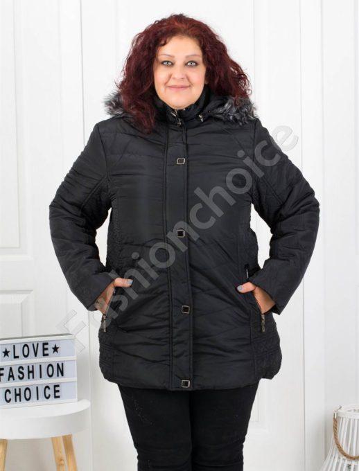 Чудесно зимно макси яке с качулка и еко косъм в черно-код5204