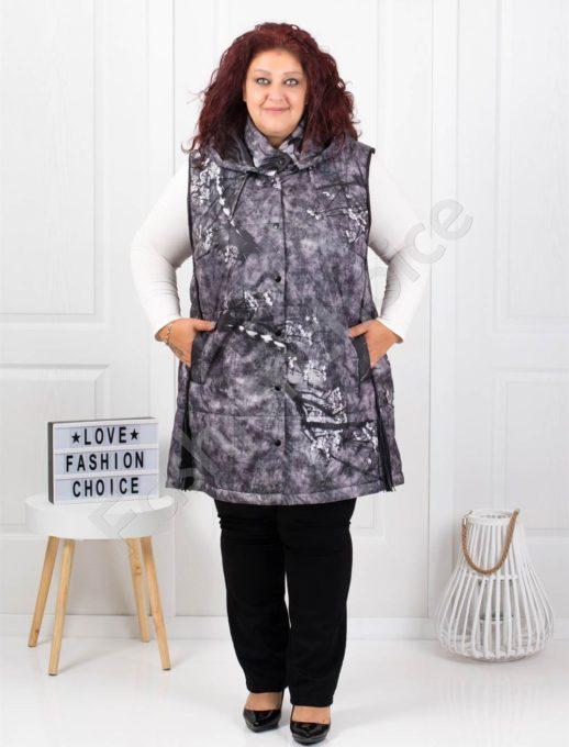 Дълга макси грейка с качулка в сив меланж-код 61469