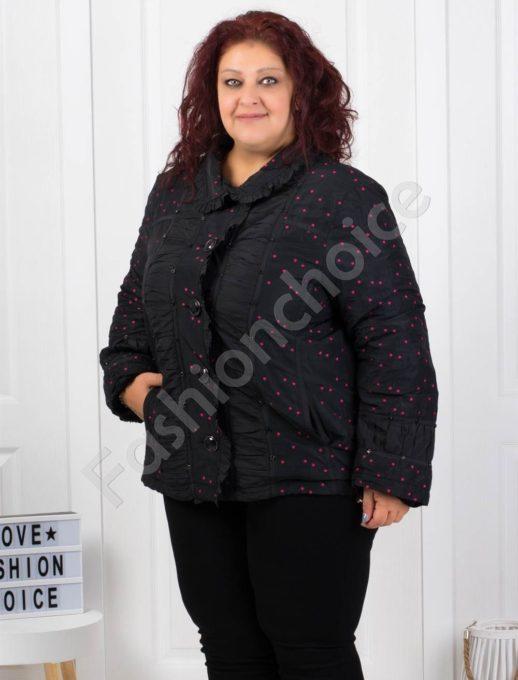 Кокетно плътно макси палтенце на сладки цикламени точки-код 60872