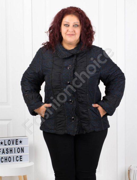 Кокетно плътно макси палтенце на сладки сини точки-код 60872-1