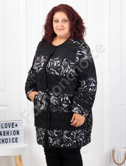 Стилно вълнено макси палто с апликация от дантела и перли-Код3687