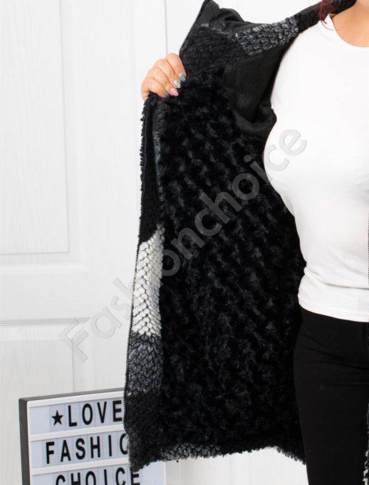 Чудесно макси плътно палто в красив десен-Код 70918