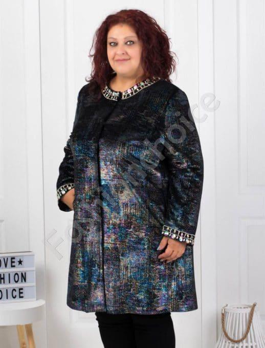Шикозно макси палто в красив и стилен десен-код 3725