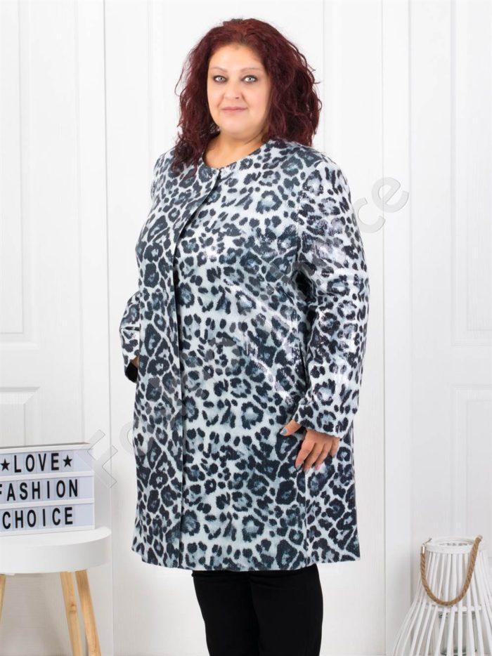 Бутиково макси палто в красив леопардов десен-код 3729