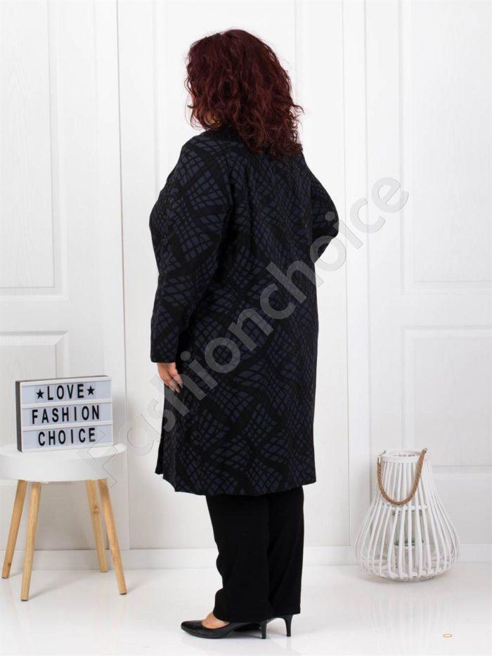 Красиво макси палто в екстравагантен десен-код 3666