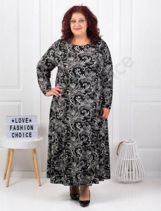 Плътна макси рокля с красив принт в черно
