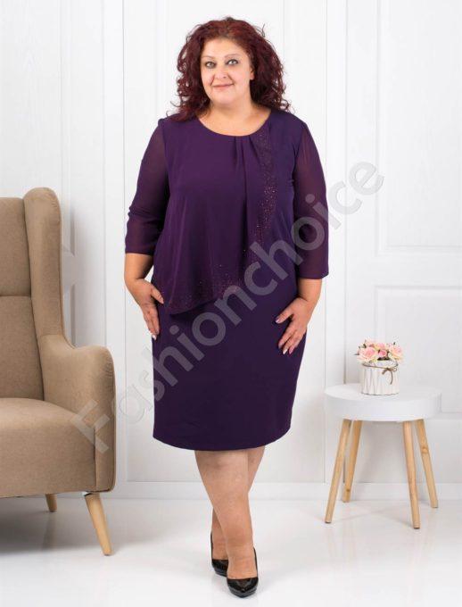 Очарователно красива макси рокля в лилаво с нежни камъни
