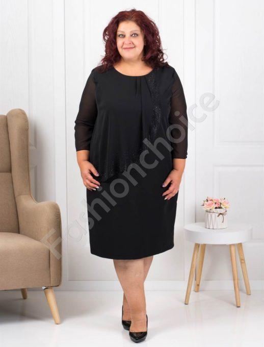 Очарователно красива макси рокля в черно с нежни камъни