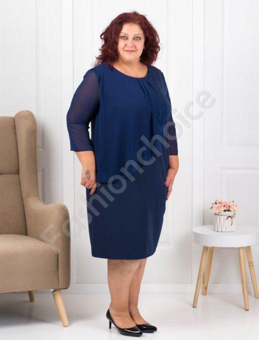 Очарователно красива макси рокля в синьо с нежни камъни