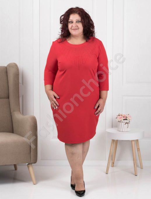 Официална макси рокля в червено с ефектни камъчета-код 1340-7