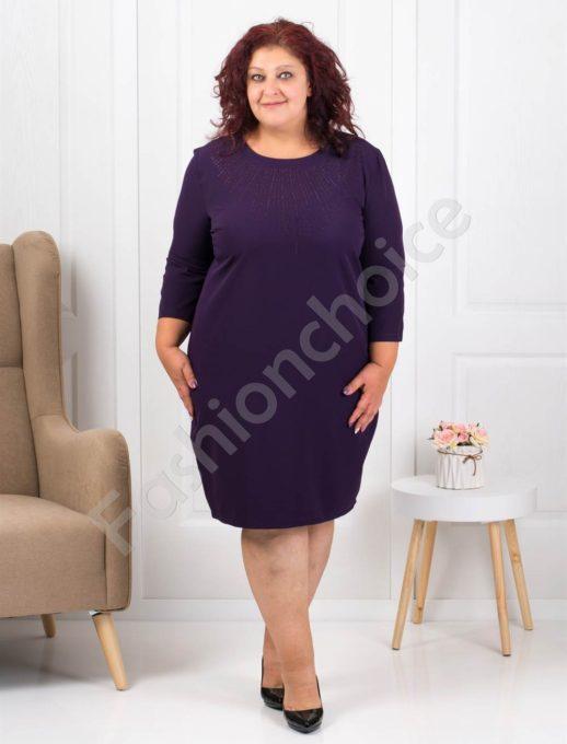 Официална макси рокля в лилаво с ефектни камъчета-код 1340-6