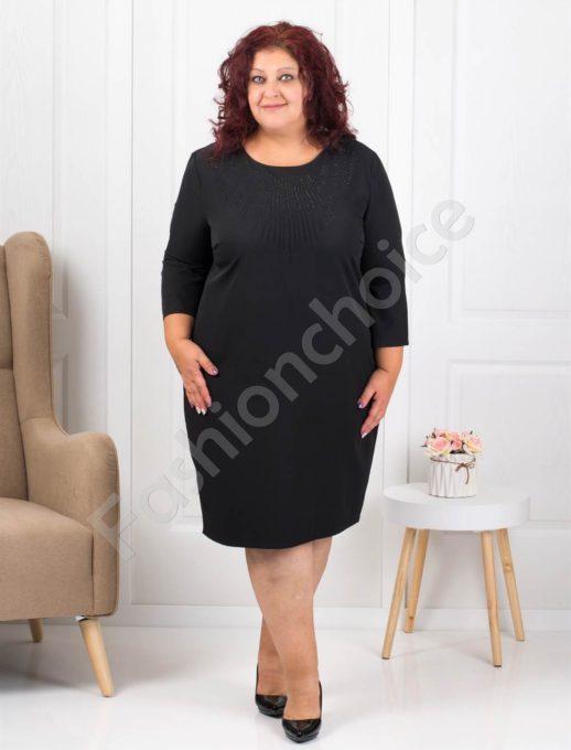 Официална макси рокля в черно с ефектни камъчета-код 1340-4