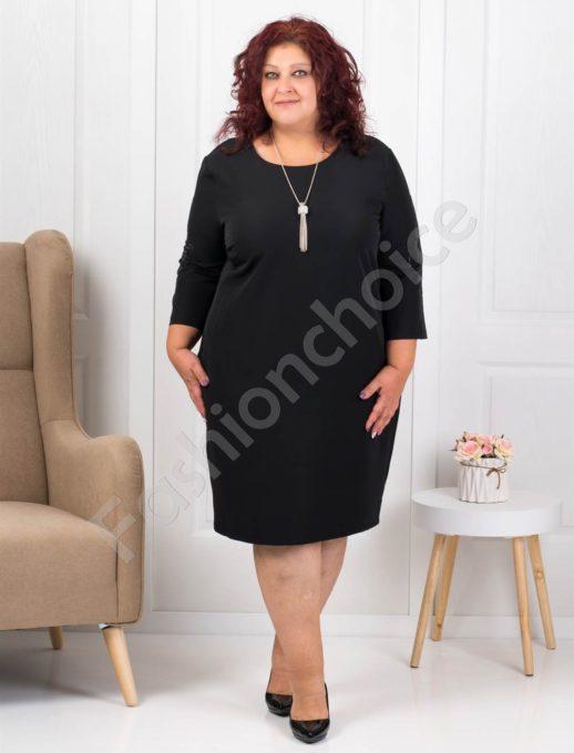 Елегантна макси рокля в черно с подарък бижу-код 3007-2