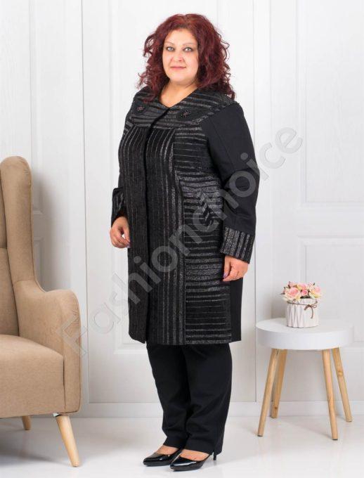 Разкошно палто в черно с нишки ламе и перли-Код 3655