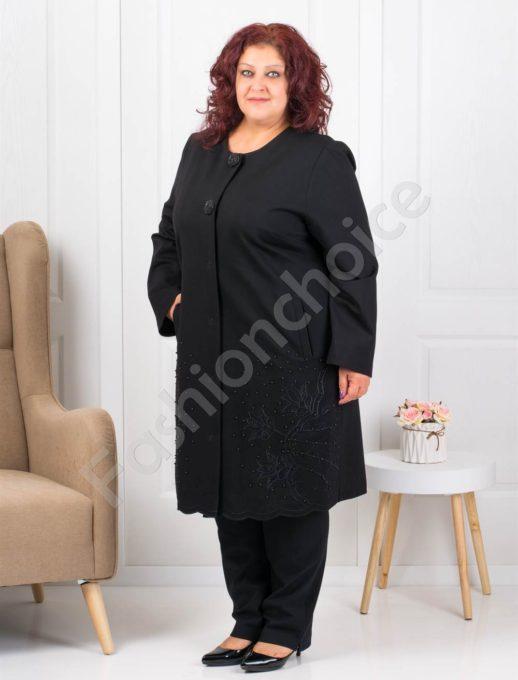 Елегантно макси манто в черно с пайети и перли-Код 3624
