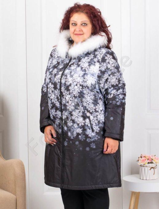 Дамско макси яке с еко косъм в свеж десен-код 70941