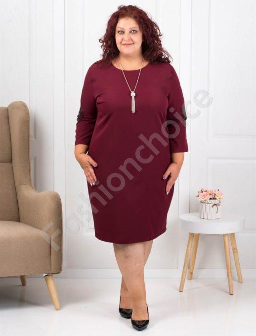 Елегантна макси рокля в бордо с подарък бижу-код 3007