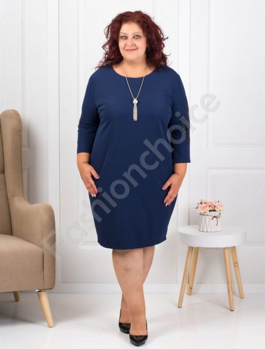 Елегантна макси рокля в тъмносиньо с подарък бижу-код 3007-3