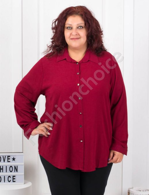 Изчистена дамска макси ризка в цвят бордо