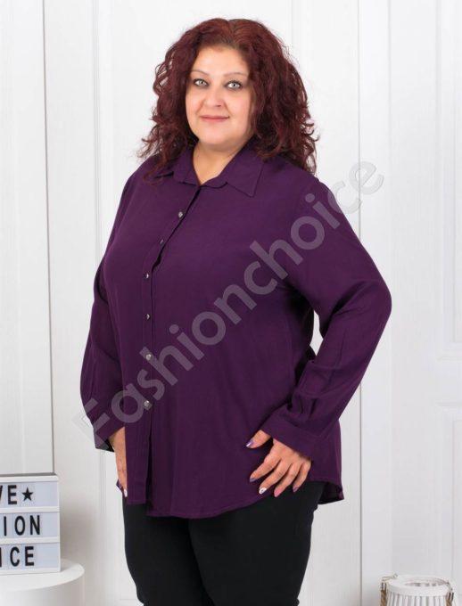 Изчистена дамска макси ризка в тъмно лилаво