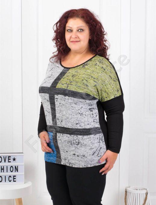 Макси цветна блузка с черни декоративни камъчета