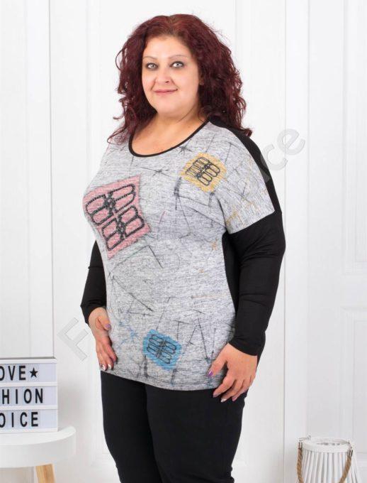Макси блузка в сиво с цветни апликации и камъчета