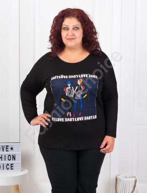Макси блуза с платка от деним и ефектна апликация-код 7529