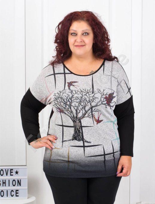 Макси блузка в сиво с апликация от камъчета-код 7494