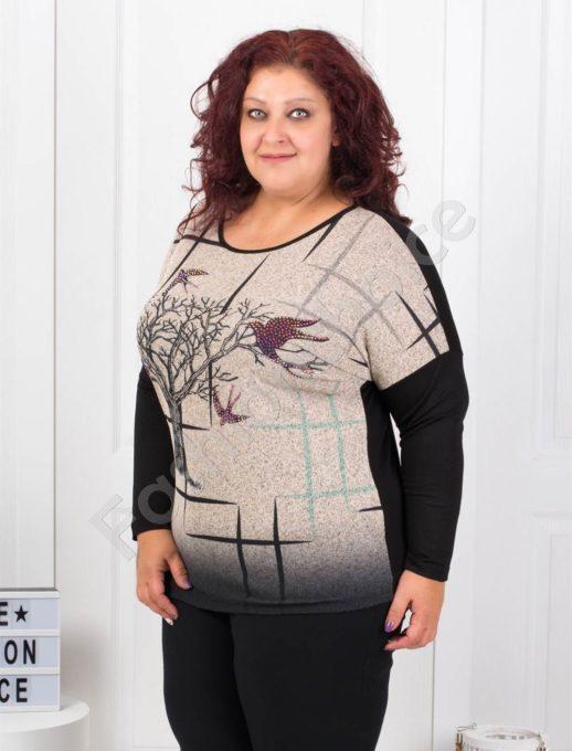 Макси блузка в бежово с апликация от камъчета-код 7494-1