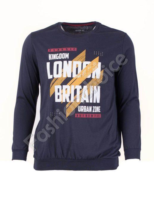 Мъжка спортна блуза LONDON цвят индиго/3XL-10XL/