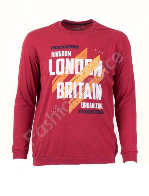 Мъжка спортна блуза LONDON цвят бордо/3XL-10XL/