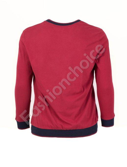 Мъжка блуза с надписи в бордо/3XL-8XL/