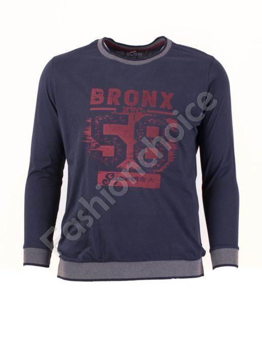 Мъжка блуза с надписи в тъмно синьо/3XL-8XL/