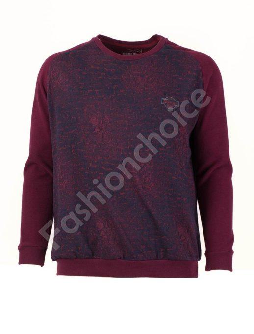 Мъжка блуза с реглан ръкав в цвят бордо/3XL-8XL/