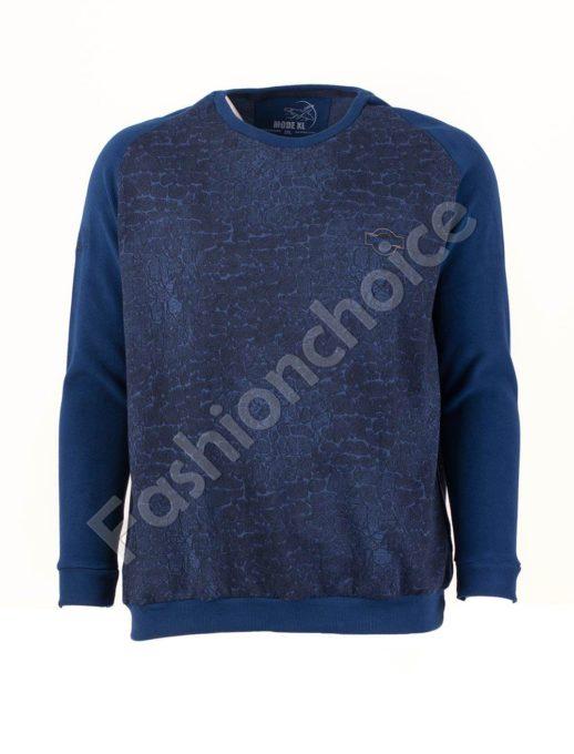Мъжка блуза с реглан ръкав в цвят индиго/3XL-8XL/