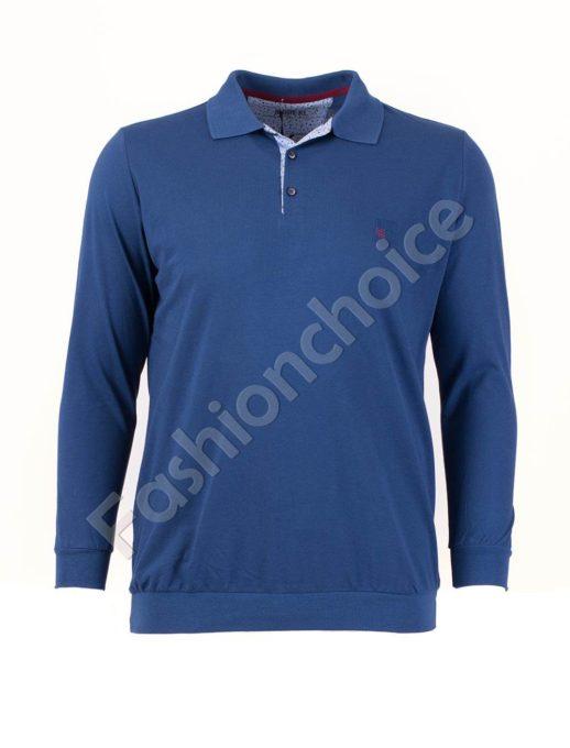 Едноцветна мъжка блуза с якичка в цвят парламент/3XL-10XL/
