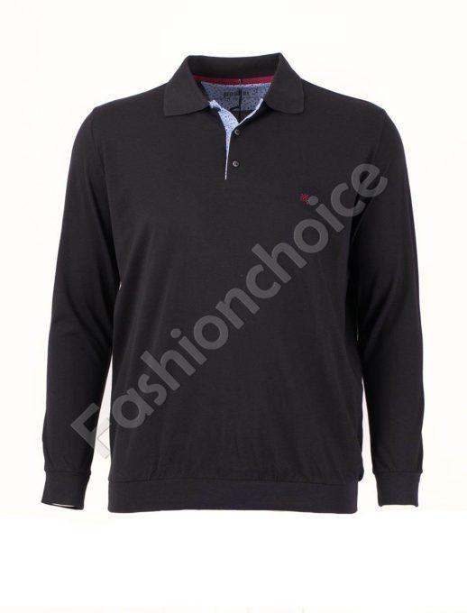 Едноцветна мъжка блуза с якичка в черно/3XL-10XL/
