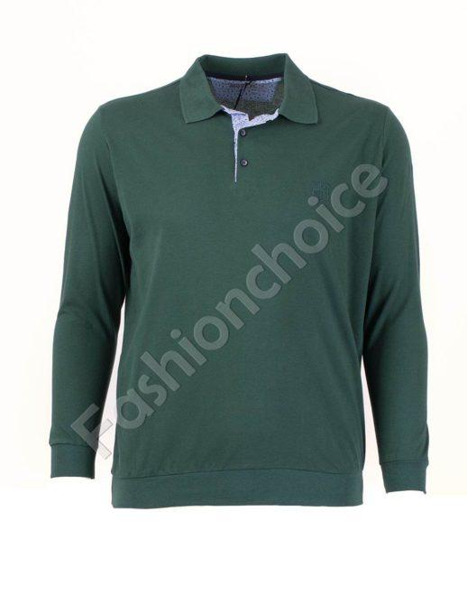 Едноцветна мъжка блуза с якичка в зелено/3XL-10XL/