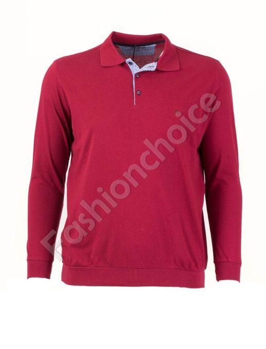 Едноцветна мъжка блуза с якичка в бордо/3XL-10XL/