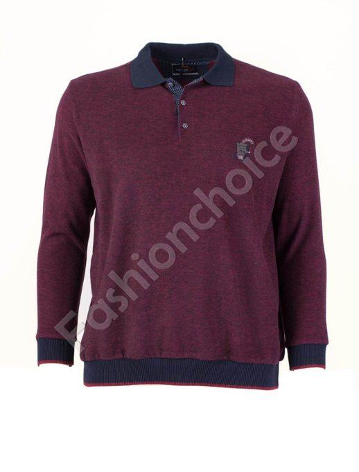 Мъжка блуза с якичка в цвят бордо/3XL-8XL/