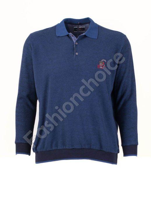 Мъжка блуза с якичка в тъмносиньо/3XL-8XL/