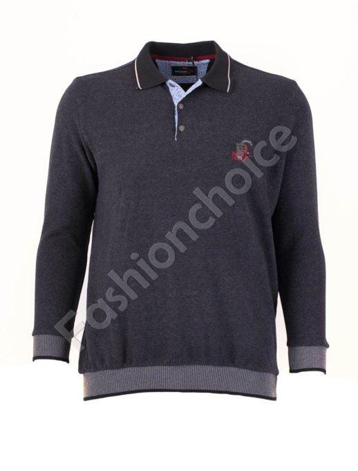 Мъжка блуза с якичка в черно/3XL-8XL/-код 19444-3