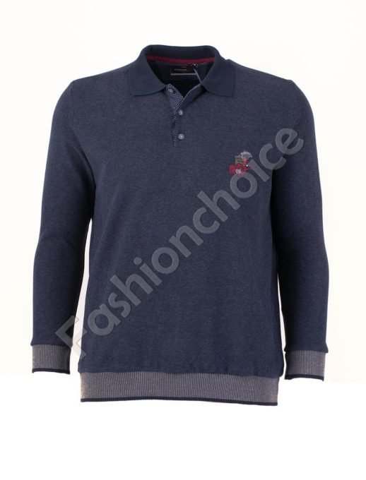 Мъжка блуза с якичка в цвят индиго/3XL-8XL/